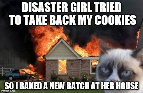 Burn Kitty Meme | DISASTER GIRL TRIED TO TAKE BACK MY COOKIES SO I BAKED A NEW BATCH AT HER HOUSE | image tagged in memes,burn kitty | made w/ Imgflip meme maker