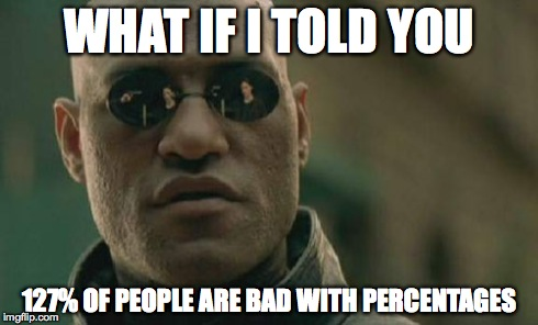 Matrix Morpheus Meme | WHAT IF I TOLD YOU 127% OF PEOPLE ARE BAD WITH PERCENTAGES | image tagged in memes,matrix morpheus | made w/ Imgflip meme maker