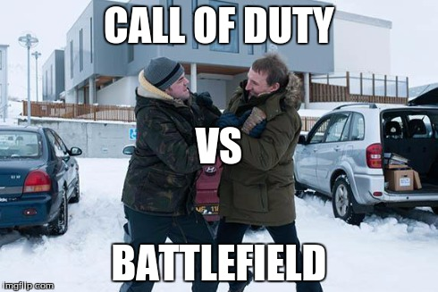 COD V BF | CALL OF DUTY BATTLEFIELD VS | image tagged in caption,call of duty,vs,battle,field | made w/ Imgflip meme maker