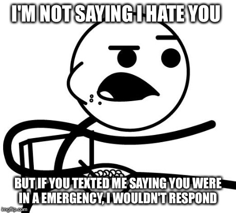I'm Not Saying I Hate You | I'M NOT SAYING I HATE YOU BUT IF YOU TEXTED ME SAYING YOU WERE IN A EMERGENCY, I WOULDN'T RESPOND | image tagged in i'm not saying i hate you | made w/ Imgflip meme maker