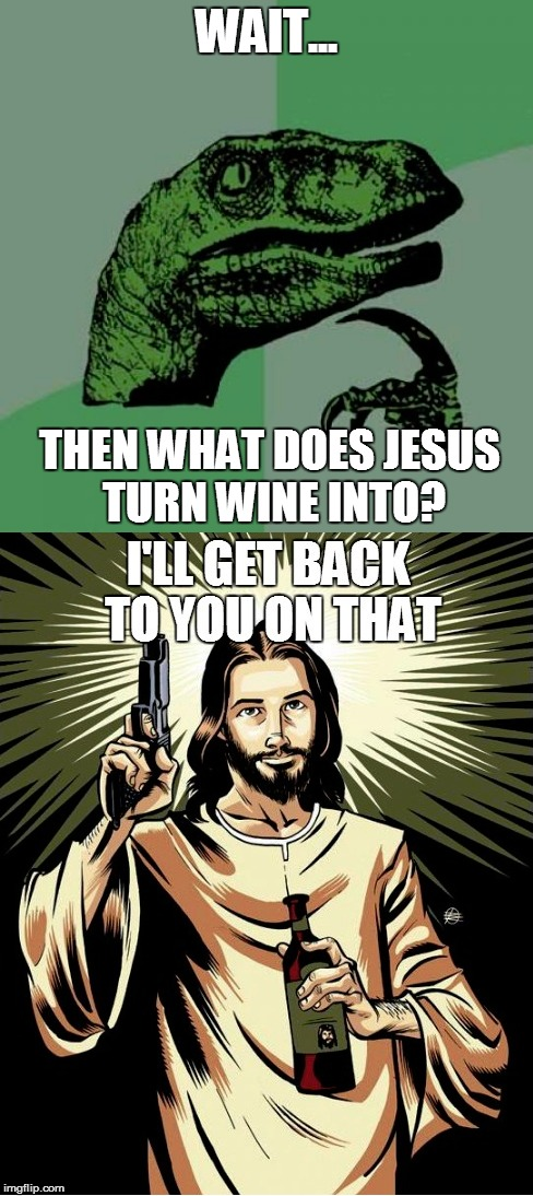 Raptor and Jesus | WAIT... THEN WHAT DOES JESUS TURN WINE INTO? | image tagged in philosoraptor,ghetto jesus,mashup,it was written | made w/ Imgflip meme maker