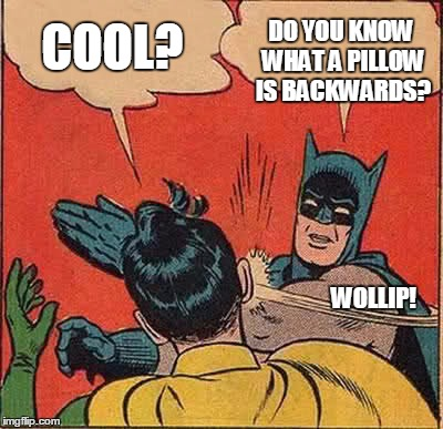 Batman Slapping Robin Meme | COOL? DO YOU KNOW WHAT A PILLOW IS BACKWARDS?                                                                                                | image tagged in memes,batman slapping robin | made w/ Imgflip meme maker