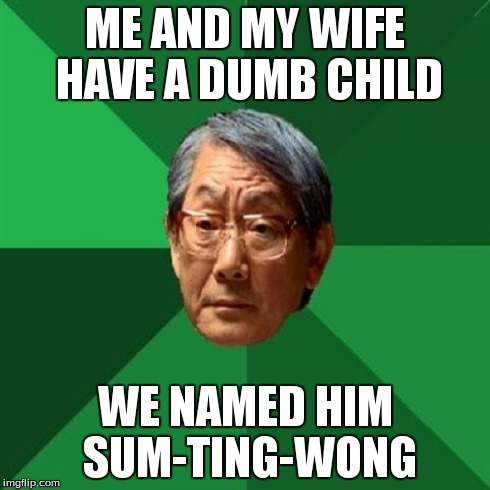 High Expectations Asian Father Meme | ME AND MY WIFE HAVE A DUMB CHILD WE NAMED HIM SUM-TING-WONG | image tagged in memes,high expectations asian father | made w/ Imgflip meme maker