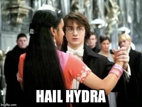 Hydra has infiltrated Hogwarts | HAIL HYDRA | image tagged in yule ball dance,hail hydra,harry potter,marvel comics | made w/ Imgflip meme maker