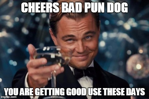 Leonardo Dicaprio Cheers Meme | CHEERS BAD PUN DOG YOU ARE GETTING GOOD USE THESE DAYS | image tagged in memes,leonardo dicaprio cheers | made w/ Imgflip meme maker
