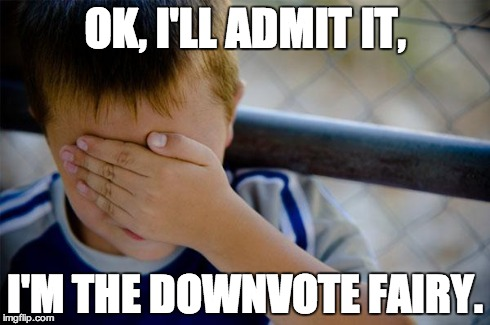 confession kid | OK, I'LL ADMIT IT, I'M THE DOWNVOTE FAIRY. | image tagged in memes,confession kid | made w/ Imgflip meme maker