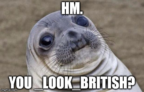 Awkward Moment Sealion Meme | HM. YOU _LOOK_BRITISH? | image tagged in memes,awkward moment sealion | made w/ Imgflip meme maker