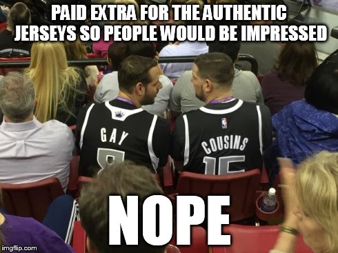 NOPE | PAID EXTRA FOR THE AUTHENTIC JERSEYS SO PEOPLE WOULD BE IMPRESSED NOPE | image tagged in gaycousins,memes,funny memes,nope | made w/ Imgflip meme maker
