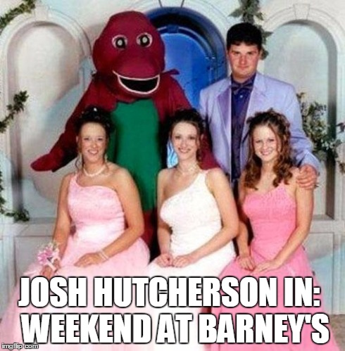 JOSH HUTCHERSON IN: WEEKEND AT BARNEY'S | image tagged in josh hutcherson | made w/ Imgflip meme maker