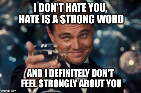 Leonardo Dicaprio Cheers Meme | I DON'T HATE YOU, HATE IS A STRONG WORD AND I DEFINITELY DON'T FEEL STRONGLY ABOUT YOU | image tagged in memes,leonardo dicaprio cheers | made w/ Imgflip meme maker