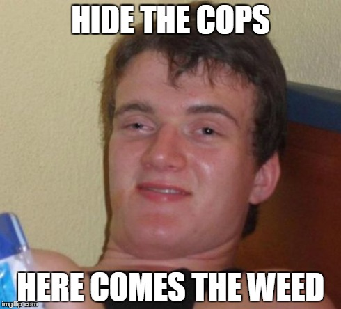 10 Guy | HIDE THE COPS HERE COMES THE WEED | image tagged in memes,10 guy | made w/ Imgflip meme maker