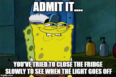 Dont You Squidward Meme | ADMIT IT.... YOU'VE TRIED TO CLOSE THE FRIDGE SLOWLY TO SEE WHEN THE LIGHT GOES OFF | image tagged in memes,dont you squidward | made w/ Imgflip meme maker