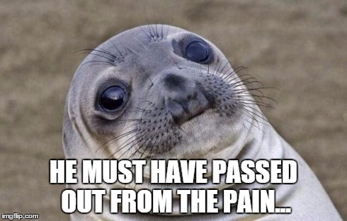 Awkward Moment Sealion Meme | HE MUST HAVE PASSED OUT FROM THE PAIN... | image tagged in memes,awkward moment sealion | made w/ Imgflip meme maker