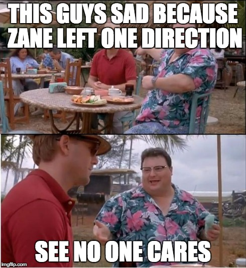 See Nobody Cares Meme | THIS GUYS SAD BECAUSE ZANE LEFT ONE DIRECTION SEE NO ONE CARES | image tagged in memes,see nobody cares | made w/ Imgflip meme maker