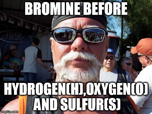 Nerd Biker  | BROMINE BEFORE HYDROGEN(H),OXYGEN(O) AND SULFUR(S) | image tagged in memes | made w/ Imgflip meme maker