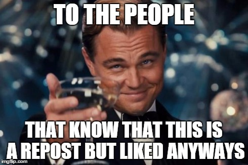 Leonardo Dicaprio Cheers Meme | TO THE PEOPLE THAT KNOW THAT THIS IS A REPOST BUT LIKED ANYWAYS | image tagged in memes,leonardo dicaprio cheers | made w/ Imgflip meme maker