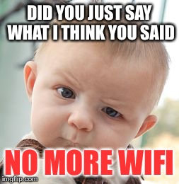 Skeptical Baby Meme | DID YOU JUST SAY WHAT I THINK YOU SAID NO MORE WIFI | image tagged in memes,skeptical baby | made w/ Imgflip meme maker