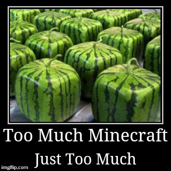 Too Much Minecraft | Just Too Much | image tagged in funny,demotivationals,minecraft | made w/ Imgflip demotivational maker