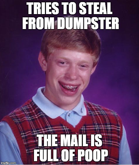 Bad Luck Brian Meme | TRIES TO STEAL FROM DUMPSTER THE MAIL IS FULL OF POOP | image tagged in memes,bad luck brian | made w/ Imgflip meme maker