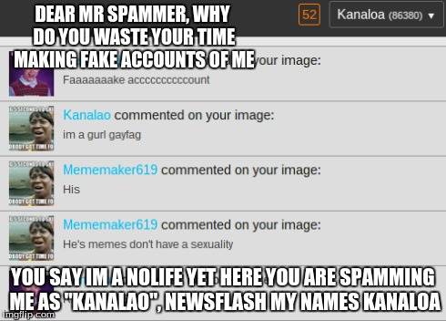 "Nice spam | DEAR MR SPAMMER, WHY DO YOU WASTE YOUR TIME MAKING FAKE ACCOUNTS OF ME YOU SAY IM A NOLIFE YET HERE YOU ARE SPAMMING ME AS ""KANALAO"", NEWSFL 