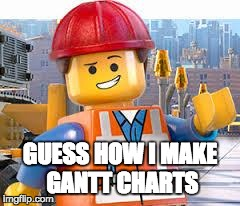 Lego Movie Emmet | GUESS HOW I MAKE GANTT CHARTS | image tagged in lego movie emmet | made w/ Imgflip meme maker
