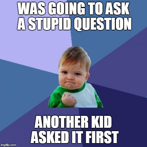 Success Kid Meme | WAS GOING TO ASK A STUPID QUESTION ANOTHER KID ASKED IT FIRST | image tagged in memes,success kid | made w/ Imgflip meme maker