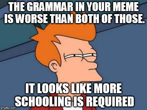 Futurama Fry Meme | THE GRAMMAR IN YOUR MEME IS WORSE THAN BOTH OF THOSE. IT LOOKS LIKE MORE SCHOOLING IS REQUIRED | image tagged in memes,futurama fry | made w/ Imgflip meme maker