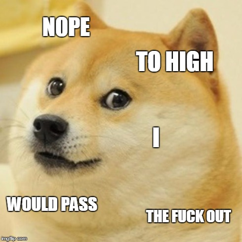 Doge Meme | NOPE TO HIGH I WOULD PASS THE F**K OUT | image tagged in memes,doge | made w/ Imgflip meme maker