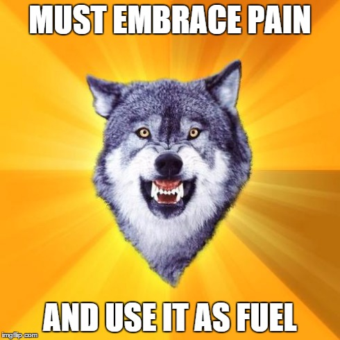 Courage Wolf | MUST EMBRACE PAIN AND USE IT AS FUEL | image tagged in memes,courage wolf | made w/ Imgflip meme maker