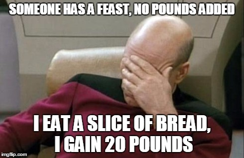 Captain Picard Facepalm Meme | SOMEONE HAS A FEAST, NO POUNDS ADDED I EAT A SLICE OF BREAD, I GAIN 20 POUNDS | image tagged in memes,captain picard facepalm | made w/ Imgflip meme maker
