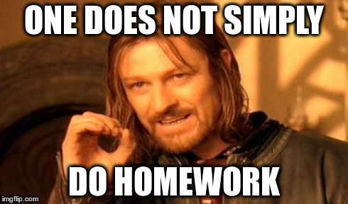 ONE DOES NOT SIMPLY DO HOMEWORK | image tagged in memes,one does not simply | made w/ Imgflip meme maker