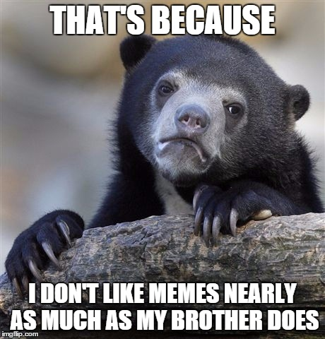 THAT'S BECAUSE I DON'T LIKE MEMES NEARLY AS MUCH AS MY BROTHER DOES | image tagged in memes,confession bear | made w/ Imgflip meme maker