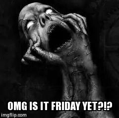 Is it Friday yet?!? | OMG IS IT FRIDAY YET?!? | image tagged in so true memes | made w/ Imgflip meme maker