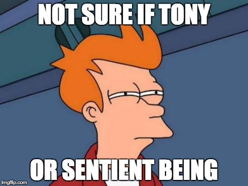 Futurama Fry Meme | NOT SURE IF TONY OR SENTIENT BEING | image tagged in memes,futurama fry | made w/ Imgflip meme maker