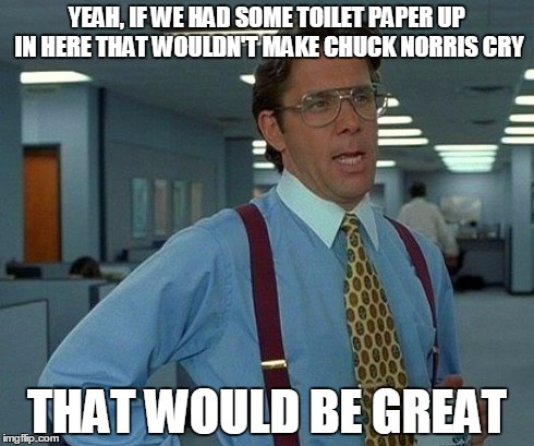 John Wayne TP | YEAH, IF WE HAD SOME TOILET PAPER UP IN HERE THAT WOULDN'T MAKE CHUCK NORRIS CRY THAT WOULD BE GREAT | image tagged in memes,that would be great,chuck norris,toilet paper,humor | made w/ Imgflip meme maker