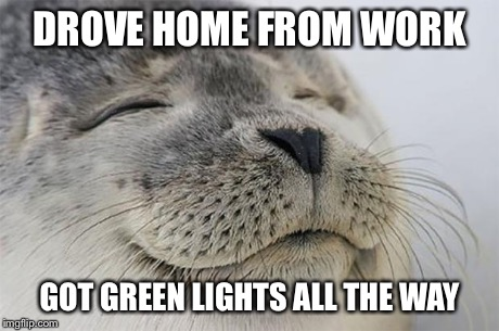 Satisfied Seal Meme | DROVE HOME FROM WORK GOT GREEN LIGHTS ALL THE WAY | image tagged in memes,satisfied seal,AdviceAnimals | made w/ Imgflip meme maker