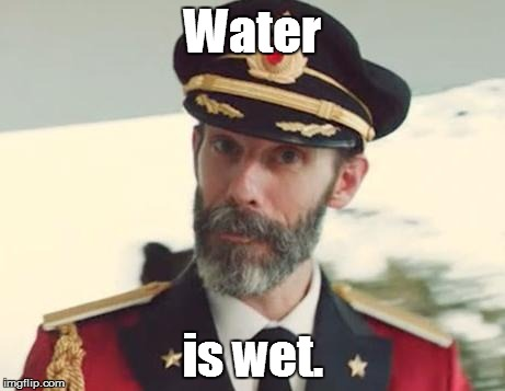 Captain Obvious | Water is wet. | image tagged in captain obvious | made w/ Imgflip meme maker