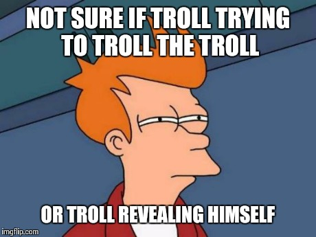 NOT SURE IF TROLL TRYING TO TROLL THE TROLL OR TROLL REVEALING HIMSELF | image tagged in memes,futurama fry | made w/ Imgflip meme maker