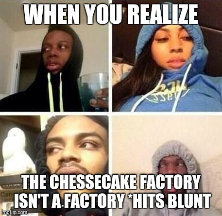 *Hits blunt | WHEN YOU REALIZE THE CHESSECAKE FACTORY ISN'T A FACTORY *HITS BLUNT | image tagged in hits blunt | made w/ Imgflip meme maker