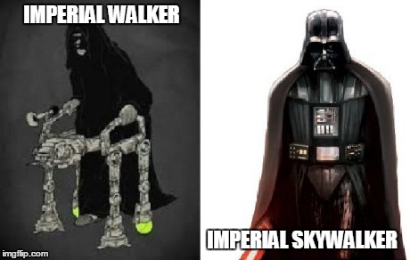 Imperial walkers | IMPERIAL WALKER IMPERIAL SKYWALKER | image tagged in skywalker,walkers | made w/ Imgflip meme maker
