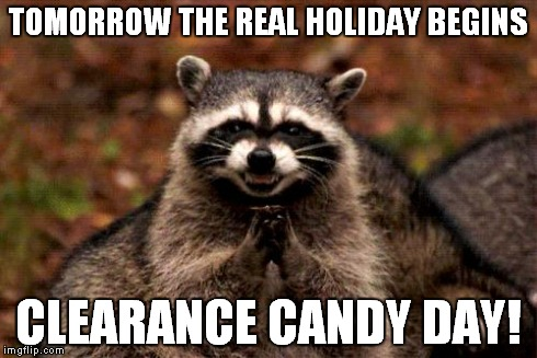 Evil Plotting Raccoon Meme | TOMORROW THE REAL HOLIDAY BEGINS CLEARANCE CANDY DAY! | image tagged in memes,evil plotting raccoon,holiday,candy,shopping | made w/ Imgflip meme maker