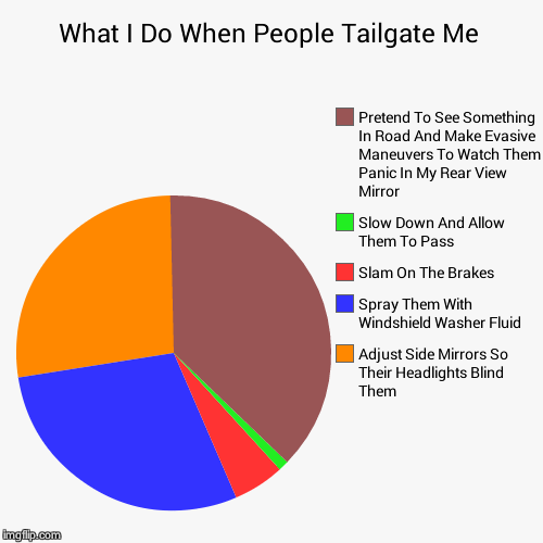 What I Do When People Tailgate Me | Adjust Side Mirrors So Their Headlights Blind Them, Spray Them With Windshield Washer Fluid, Slam On The | image tagged in funny,pie charts | made w/ Imgflip pie chart maker