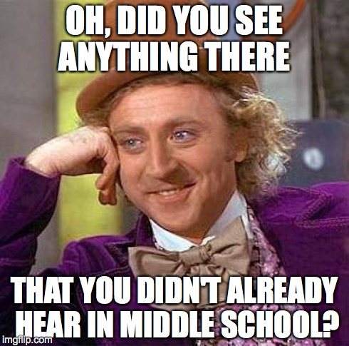 Creepy Condescending Wonka Meme | OH, DID YOU SEE ANYTHING THERE THAT YOU DIDN'T ALREADY HEAR IN MIDDLE SCHOOL? | image tagged in memes,creepy condescending wonka | made w/ Imgflip meme maker