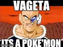 Im Curious Nappa | VAGETA ITS A POKE'MON | image tagged in memes,im curious nappa | made w/ Imgflip meme maker