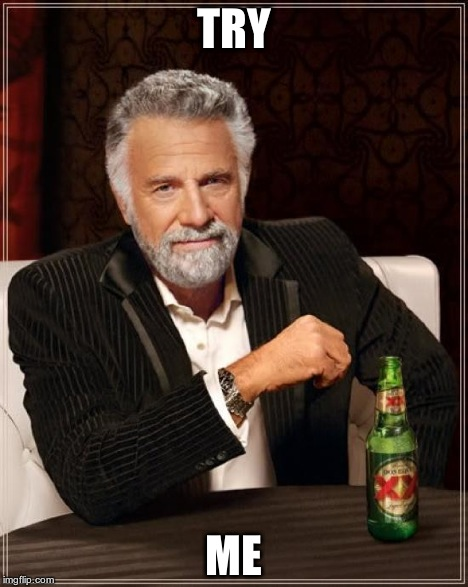 The Most Interesting Man In The World Meme | TRY ME | image tagged in memes,the most interesting man in the world | made w/ Imgflip meme maker