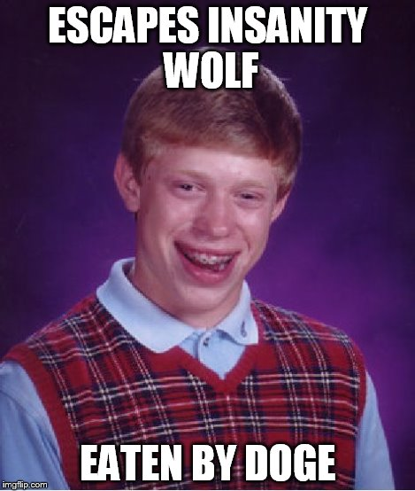 Bad Luck Brian Meme | ESCAPES INSANITY WOLF EATEN BY DOGE | image tagged in memes,bad luck brian | made w/ Imgflip meme maker