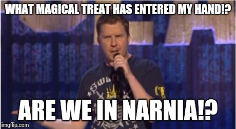 Skeptical Swardson | WHAT MAGICAL TREAT HAS ENTERED MY HAND!? ARE WE IN NARNIA!? | image tagged in memes,skeptical swardson | made w/ Imgflip meme maker