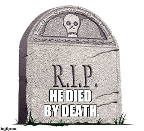 Rest In Peace | HE DIED BY DEATH. | image tagged in rest in peace | made w/ Imgflip meme maker
