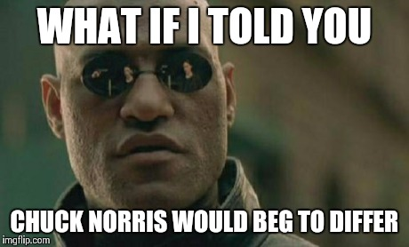 Matrix Morpheus Meme | WHAT IF I TOLD YOU CHUCK NORRIS WOULD BEG TO DIFFER | image tagged in memes,matrix morpheus | made w/ Imgflip meme maker