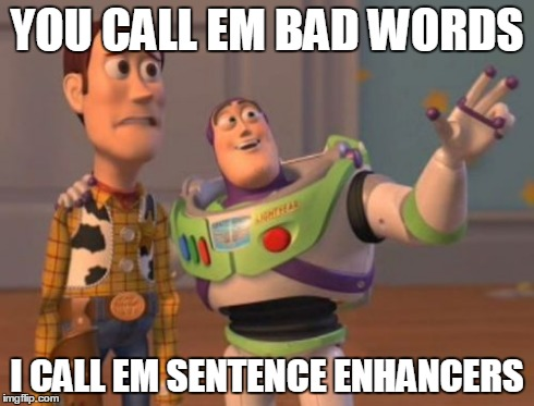 X, X Everywhere | YOU CALL EM BAD WORDS I CALL EM SENTENCE ENHANCERS | image tagged in memes,x, x everywhere,x x everywhere | made w/ Imgflip meme maker